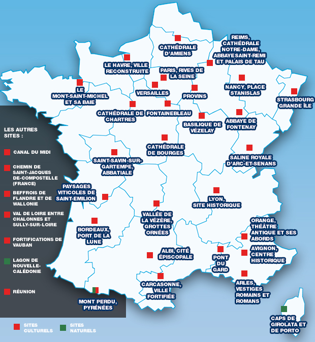 Достопримечательности Франции из списка ЮНЕСКО: полный список достопримечатательностей Франции, внесенных в список всемирного наследия ЮНЕСКО, памятники Франции, что посмотреть во Франции, лучшие достопримечательности Францииб French UNESCO sights, памятники ЮНЕСКО во Франции